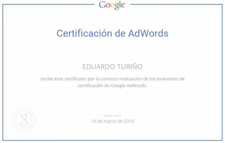 Certificaciónn de Google Ads Bilbao. Eduardo Turiño.