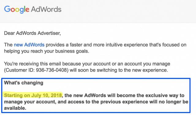 Notificación Cierre de Antigua Interfaz de Google AdWords