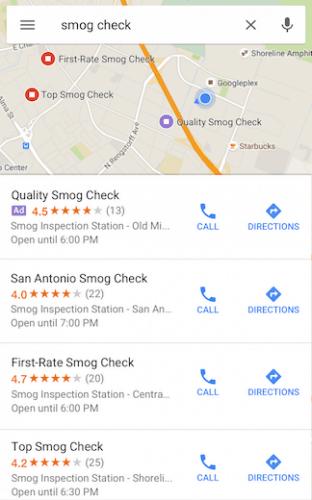 Anuncios en búsquedas locales - Google Maps