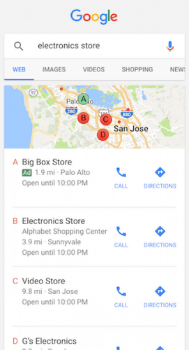 Anuncios en búsquedas locales - Móvil