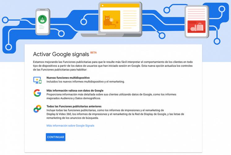 Activación de Google Signals. Analytics