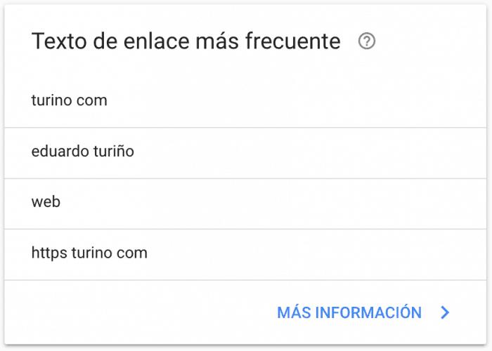 Search Console Enlaces Externos - Texto de enlace más frecuente