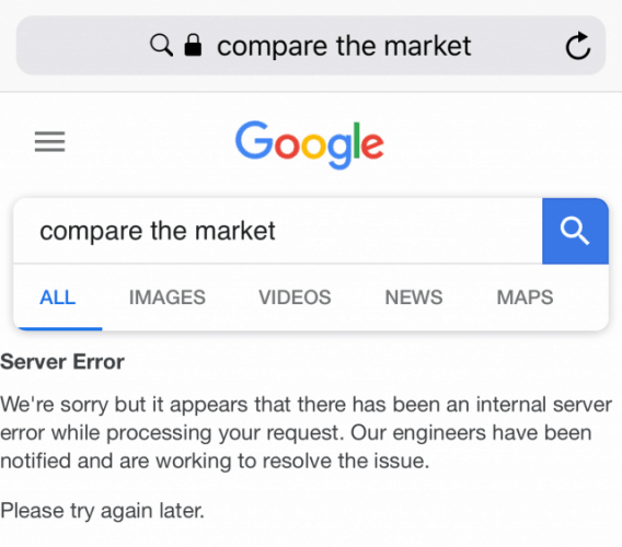 Error Servidor en Google Keyword compare the market