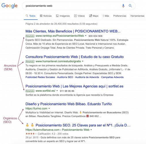 Anuncios vs Posiciones Orgánicas en Google