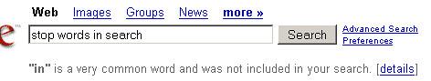 Stop Words en Google 2008