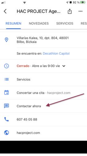 My Business Botón Contactar